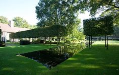 A parade of clipped hornbeam trees intersects with the reflecting pool of a house between Antwerp and Ghent, to create a giant cross. Wirtz Landscape Architecture