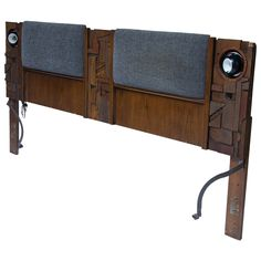 Mid-Century Modern Lane Brutalist Lighted King Headboard | From a unique collection of antique and modern beds at https://www.1stdibs.com/furniture/more-furniture-collectibles/beds/