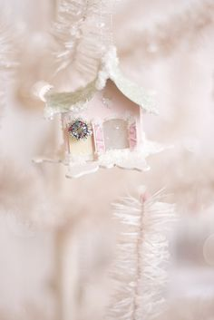 Morning ladies thank u for beautiful pins! Today is pastel Christmas. Hugs and blessings Shabby Chic Christmas, Victorian Christmas, Christmas Love, Christmas Colors, Vintage Christmas, Christmas Crafts, Christmas Ornaments, Christmas Mantles, Christmas Villages