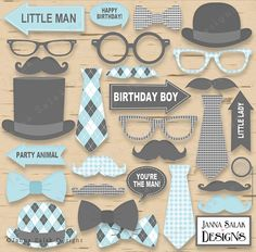 Little Man Birthday Party Photo Booth Props (non-editable PDF files) that you can print using the latest FREE version of Adobe Reader. *** THIS