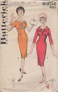 Vintage Butterick 8096 Fitted Sheath Dress Sewing Pattern Bust 34 - I think I could make this by adjusting my black wool dress pattern...