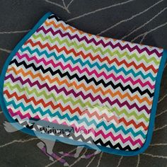 Colorful chevron English saddle pad by  WhinneyWear  www.whinneywear.com