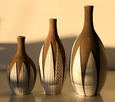 Vintage 50's vases 'Paprika' for Uppsala Ekeby, I especially like the patterns on the leaves