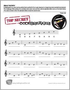 CodeBreaker! | FREE Treble Clef Note Name Worksheet - http://makingmusicfun.net/htm/f_printit_free_printable_worksheets/codebreaker-treble-clef-worksheet.htm