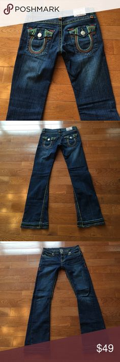"❤️True Religion Jeans❤️ True Religion Jeans-beautiful rainbow stitching!! Match with everything!! Added stitching at cuff-very hippie chic!! Waist across measures 15 1/2"". Inseam is 31 1/2"". Check out my closet for tons of other True Religion items!! Bundle & save!!🚫lowball offers True Religion Jeans Boot Cut"