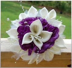 white and purple wedding bouquet | Wedding Flowers, White Calla Lilies With Purple: How to Create Silk ...