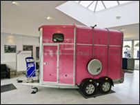 Ifor Williams' pink horse float. Now theres a colour. What would yours be?