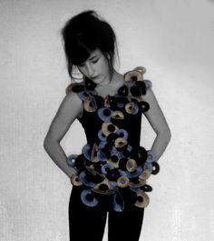 Lauren Katherine sculptural, fabric manipulation dress