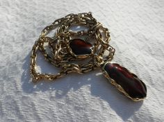 1970s Dangle Pendant Necklace Brutalist Cognac brown Lacquer Enamel Gold Tone 24 inch Double Link Chain Earthy Jewelry Disco Fall Earthtone