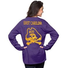 East Carolina Pirates Pressbox Women's The Big Shirt Oversized Long Sleeve T-Shirt - Purple - $39.99