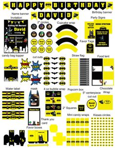 Lego Batman complete birthday party kit!  This listing is for a PRINTABLE digital file for printing at home or uploading to a professional printer - NO physical item will be shipped out. (All items will be sent on 8 1/2 x 11 PDF files.)  A la carte items are available, please ask me about it!  Please check shop announcement for current turn around time on personalized items. ------------------------------------------------------------------------------------------------------- PLEASE PRO...