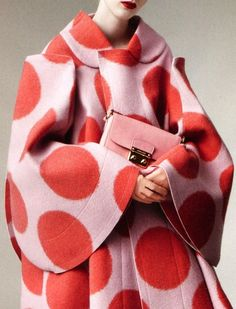 Pink Polka Dot Coat - Anniek Kortleve shot by Daniel Jackson for Vogue China, August 2012