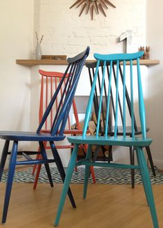 Ercol Goldsmith Chairs - multi-coloured.... I have 5 and have made a start!