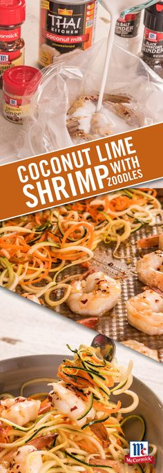 Everything cooked on one sheet pan? Serve baked Coconut Lime Shrimp over warm zucchini, yellow squash and carrot spirals for a delicious weeknight meal. Fish Recipes, Seafood Recipes, Paleo Recipes, Low Carb Recipes, Dinner Recipes, Cooking Recipes, Yummy Recipes, Pasta, Seafood Dishes