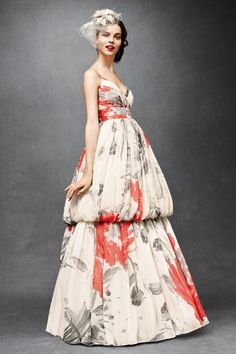 would never wear this, that bubble just ruins the entire dress, but love the pop of color on the cream ground.