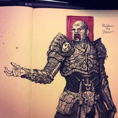 #inktober 11: Rabban the Beast. Finally sketched a Harkonnen