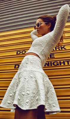 Backstage Clothing White Structured Patterns Skirt & Crop Top