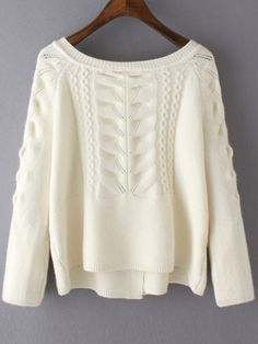 Buy Raglan Sleeve Cable Knit White Cardigan from abaday.com, FREE shipping Worldwide - Fashion Clothing, Latest Street Fashion At Abaday.com