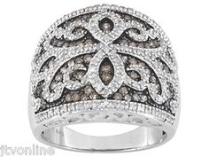 White & Champagne Diamond 1.10ctw .925 Sterling Silver Wide Cigar Band Ring