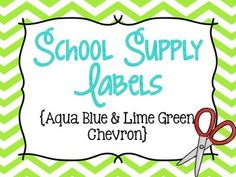 Chevron School Supply Labels for Everything! (Lime Green &