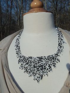 Black and White Netting Style Necklace with Button Clasp---$35