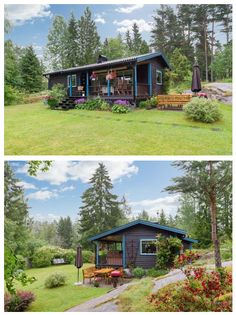 Love the pops of blue and purple in this 570 sq ft country charmer in Sweden. | Tiny Homes