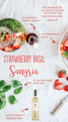 Unlike many sangria with added sugar, this Strawberry Basil Sangria highlights, and doesn't hide, our remarkable summery Manifesto Sauvignon Blanc with subtle floral notes. Packed with big, complex flavors like key lime and orange creamsicle, Manifesto Sauvignon Blanc is a great addition to any picnic or outdoor excursion.