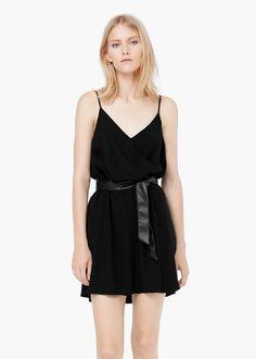 Vestido escote cruzado - Vestidos de Mujer | MANGO