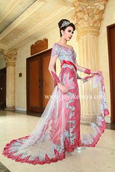 Kebaya Fashion Pink Bordir and Fix with white color.