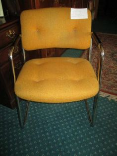 Vintage Chrome Office Chair With Mustard Upholstery By Steele Case