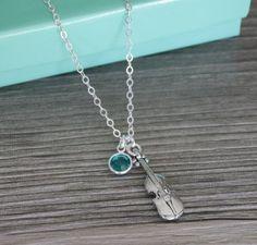 Violin Necklace, Violin Birthstone Necklace, Personalized Violin Necklace, December Birthstone Necklace, Music Necklace, Silver Violin
