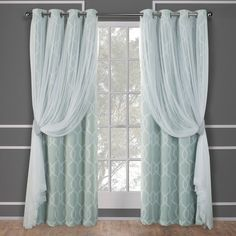 Exclusive Home Carmela Layered Geometric Blackout and Sheer Window Curtain Panel Pair with Grommet Top, Aqua, 52x108, Blue