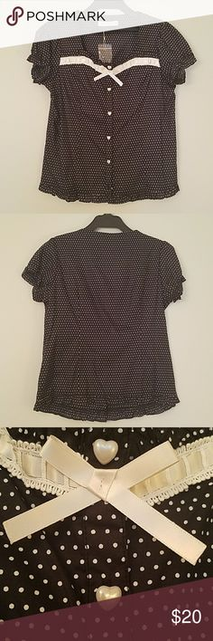 "!SOLD! Ank Rouge Polka Dot Blouse Ank Rouge imported from Japan Brand new without tags Includes extra heart button Black and white polka-dot pattern Ruffled hem, sleeves, and collar Length 22.5 Bust 35""  JP Women's Size M Runs small! Clean smoke free home Ank Rouge  Tops Blouses"