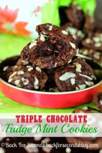 These Triple Chocolate Fudge Mint Cookies are perfect for holiday baking and gifting! They have a brownie like texture and are full of chocolate and mint! Chocolate Mint Cookies, Chocolate Fudge, Flourless Chocolate, Holiday Baking, Christmas Baking, Christmas Cookies, Yummy Cookies, Cupcake Cookies, Cupcakes