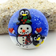 PIKALDA=handmade lampwork 1focal glass bead penguin snowman winter=PLAYING=SRA