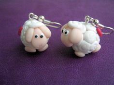 Cute and tiny sheep earrings :) Polymer Clay Jewelry, Sheep, Jewellery, Facebook, Christmas Ornaments, Holiday Decor, Earrings, Xmas Ornaments, Ear Rings