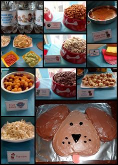 PAW Patrol / Puppy Party - food ideas - for my baby boy that LOVES dogs! Dog Themed Parties, Puppy Birthday Parties, Puppy Party, Dog Birthday, Birthday Party Themes, Birthday Ideas, Dog Parties, Paw Patrol Party, Paw Patrol Birthday