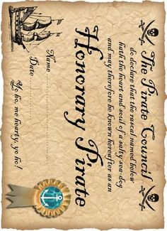 DEFINITELY! free printable Honorary Pirate Certificate