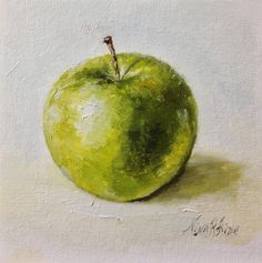 Green Apple Granny Smith Original Oil painting by Nina R.Aide Daily Painting Kitchen Art Still Life 6x6 inches canvas
