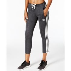adidas Originals Cigarette Track Pants ($50) ❤ liked on Polyvore featuring activewear, activewear pants, dark grey heather, adidas, adidas activewear, track pants and adidas sportswear
