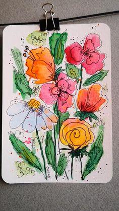 Watercolor Artwork, Watercolor Paintings For Beginners, Watercolor Art Lessons, Pen And Watercolor, Watercolor Flowers, Mandala Tattoo Sleeve, Sleeve Tattoos, Doodle Art, Flower Doodles