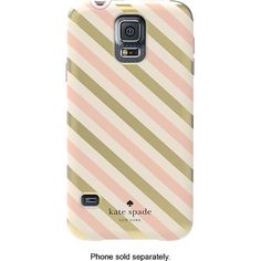 kate spade new york - Diagonal Stripe Hybrid Hard Shell Case for Samsung Galaxy S 5 Cell Phones - Gold/Cream/Blush - Alternate View 1