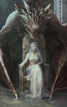 Game of thrones fanart. Daenerys Targaryen, mother of dragons - Game of Thrones Art Game Of Thrones, Dessin Game Of Thrones, Game Of Thrones Dragons, Drogon Game Of Thrones, Fantasy Kunst, Fantasy Art, Fantasy Queen, Fantasy Dragon, Medieval Combat