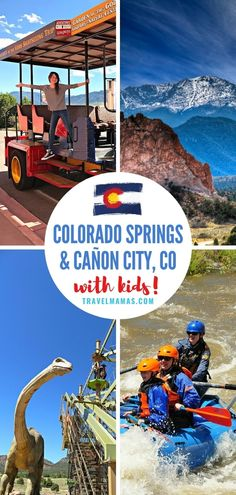 For an adventurous family vacation destination, travel to Colorado Springs and Cañon City, CO. White water rafting, hiking, caves, animatronic dinosaursa and more will keep kids of all ages content in the Pikes Peak region of Colorado. Learn more in this guide! #coloradosprings #colorado #adventuretravel #travelwithkids #familytravel