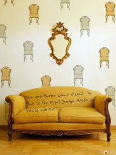 Stencil sweetness! Adorable Parlor Chair stencil is too fun to create a random allover stenciled pattern.