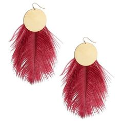 Women's Sandy Hyun Full Moon Feather Drop Earrings ($96) ❤ liked on Polyvore featuring jewelry, earrings, raspberry, drop earrings, fancy earrings, fancy jewelry, multicolor earrings and feather jewelry
