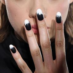 "Trendy #Nails: 2-tone French Manicure Nail Art W a grungy dripped brush stroke twist ""'90s VIBE"" backstage at Fenty X Puma FW16 #AW16 #nail #mani #manicure"