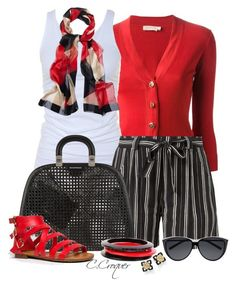 """""""Short Outfit Red&Black&White"""" by ccroquer ❤ liked on Polyvore featuring Tory Burch, Tusnelda Bloch, Yves Saint Laurent, Emporio Armani, CC and Breckelle's"""