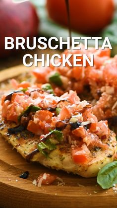 Tender juicy grilled chicken topped with Bruschetta is the perfect healthy and quick dinner recipe This Bruschetta Chicken recipe can be made outdoors on your grill or on your stovetop using a grill pan bruschetta recipe Healthy Dinner Recipes For Weight Loss, Quick Dinner Recipes, Quick Easy Healthy Dinner, Fast Healthy Dinners, Healthy Recipes With Chicken, Recipes With Basil, Easy Healthy Lunch Ideas, Clean Eating Dinner Recipes, Simple Healthy Meals