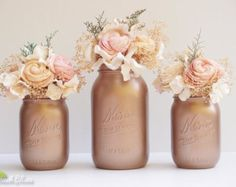 Fall Wedding Decor / Rose Gold Decor / Painted Mason Jars / Centerpiece / Vase / Table Decor / Rose gold mason jar / Fall home / set of 3